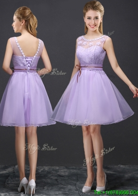 Luxurious See Through Laced and Belted Prom Dress with Appliques