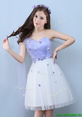 2017 New Applique One Shoulder Prom Dress in White and Lavender