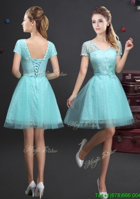 Latest V Neck Laced and Applique Prom Dress in Aquamarine