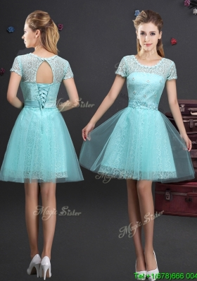 2017 New Style See Through Scoop Laced Prom Dress with Short Sleeves