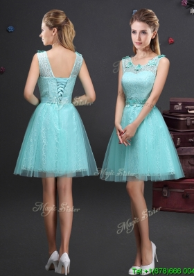 Best Selling Applique and Laced Belted Aquamarine Prom Dress