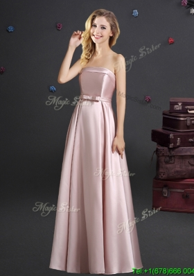 Luxurious Empire Strapless Floor Length Prom Dress with Bowknot