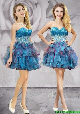 Cheap Beaded and Ruffled Organza Prom Dress in Two Tone