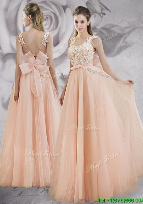 2017 Pretty Applique Decorated Bodice A Line Long Prom Dress in Baby Pink