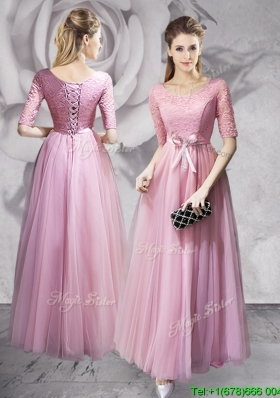 Luxurious Laced and Bowknot Long Prom Dress with Half Sleeves