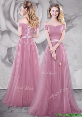 2017 Popular Brush Train Off the Shoulder Prom Dress in Pink