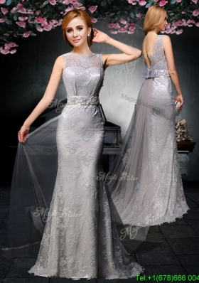 2017 Lovely Belted and Laced Backless Grey Prom Dress with Watteau Train