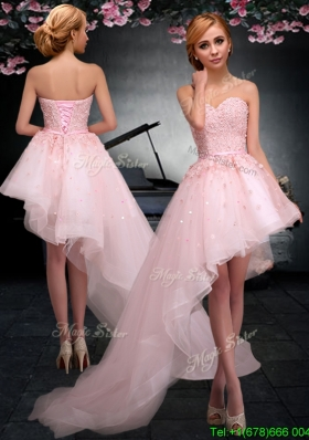 Latest Lace Up Applique Baby Pink Prom Dress in Asymmetrical