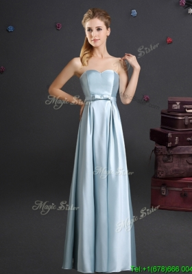 Pretty Sweetheart Bowknot Light Blue Bridesmaid Dress in Floor Length