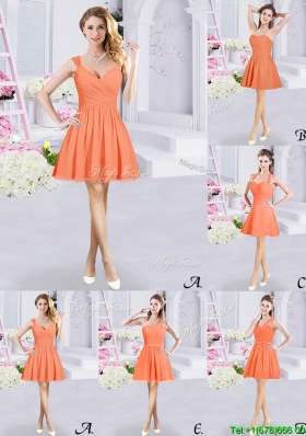 2017 Elegant A Line Chiffon Orange Short Dama Dress with Ruching