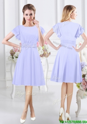 2017 Discount Side Zipper Short Sleeves Lavender Scoop Dama Dress in Chiffon