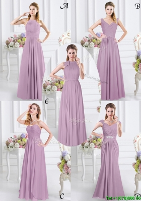 Elegant Chiffon Floor Length Lavender Dama Dress with Zipper Up
