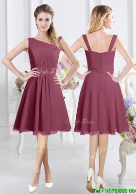 Perfect Asymmetrical Neckline Burgundy Knee Length Dama Dress with Ruching