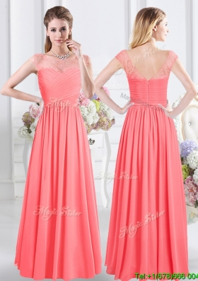 Affordable Scoop Ruched Bodice and Lace Decorated Cap Sleeves Dama Dress