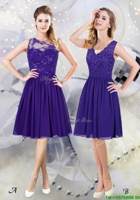 2017 Unique Empire Purple Chiffon Zipper Up Dama Dress in Knee Length