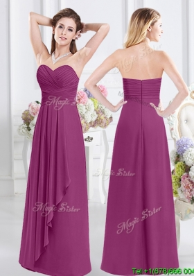 Romantic Sweetheart Zipper Up Floor Length Dama Dress in Fuchsia