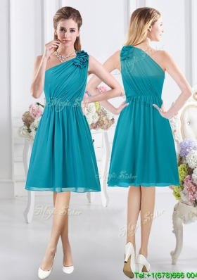 Comfortable Side Zipper One Shoulder Teal Dama Dress with Ruching and Ruffles
