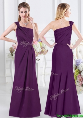 New Style Side Zipper Purple Column Dama Dress with One Shoulder