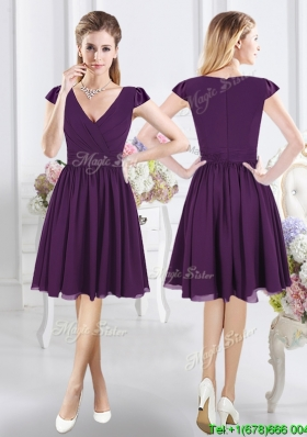 Latest V Neck Zipper Up Purple Dama Dress with Cap Sleeves