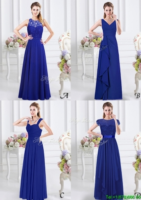 Simple Empire Royal Blue Zipper Up Dama Dress in Floor Length
