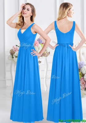 Most Popular Chiffon Baby Blue Long Dama Dress with V Neck
