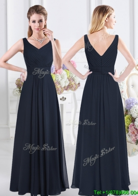 Discount Ruched Bodice Chiffon Navy Blue Dama Dress with Zipper Up