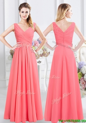 Unique V Neck Watermelon Red Long Bridesmaid Dress with Ruching