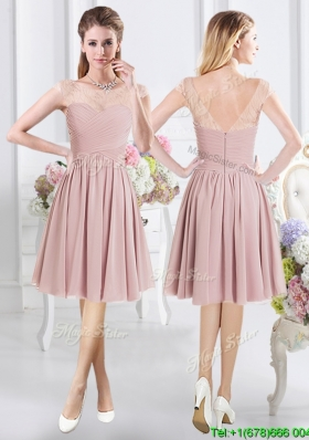 Classical Lace Decorated Cap Sleeves Zipper Up Bridesmaid Dress with Ruching