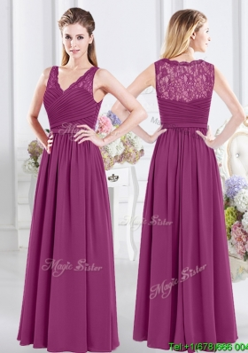 Wonderful V Neck Ruched and Laced Bridesmaid Dress with Side Zipper