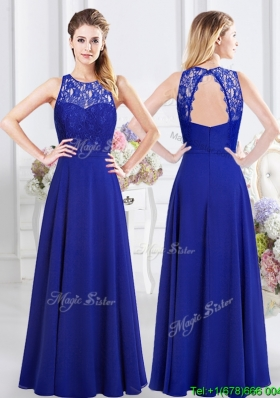 Wonderful See Through Scoop Laced Bodice Open Back Bridesmaid Dress in Chiffon