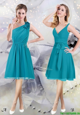 High End Chiffon Teal Knee Length Bridesmaid Dress with Ruching