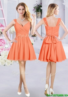 Cheap Belted and Ruched V Neck Orange Bridesmaid Dress with Zipper Up