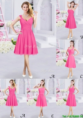 Exquisite Chiffon Knee Length Ruched Bridesmaid Dress in Hot Pink