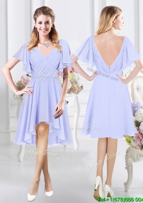 Perfect Zipper Up V Neck High Low Bridesmaid Dress in Chiffon
