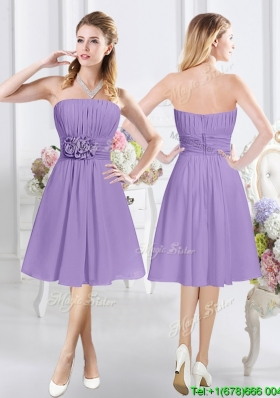 Simple Strapless Chiffon Bridesmaid Dress with Ruching and Handcrafted Flowers
