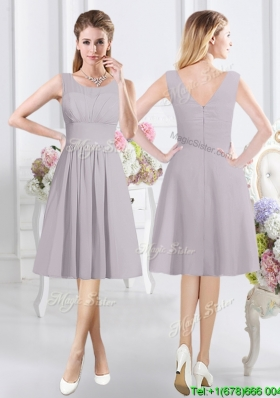 Modest Zipper Up See Through Scoop Bridesmaid Dress with Ruching