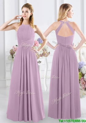 Cheap Empire Halter Top Zipper Up Bridesmaid Dress with Ruching