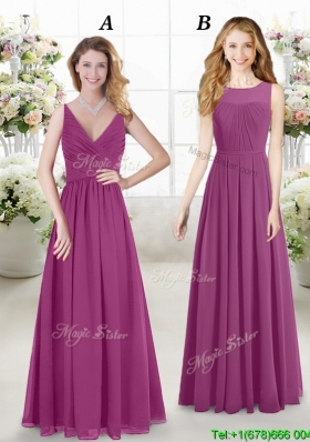 New Style Empire Fuchsia Chiffon Bridesmaid Dress in Floor Length