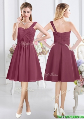 Fashionable Chiffon One Shoulder Zipper Up Bridesmaid Dress in Burgundy