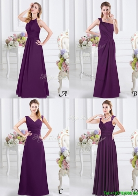 Exquisite Ruched Floor Length Chiffon Bridesmaid Dress in Purple
