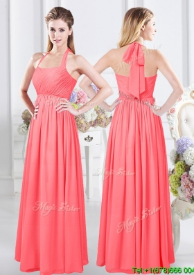 Top Seller Watermelon Red Floor Length Bridesmaid Dress with Halter Top