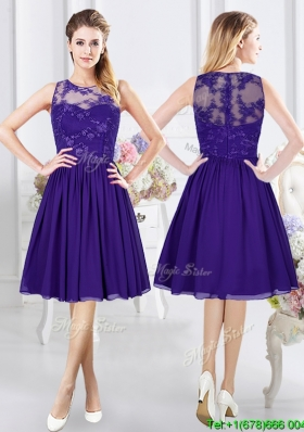 Affordable Empire See Through Scoop Purple Bridesmaid Dress with Zipper Up