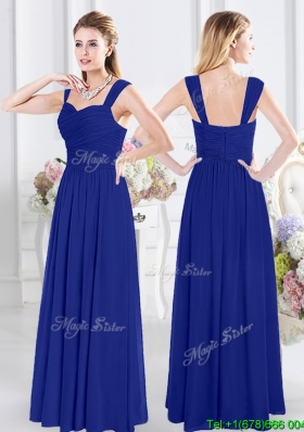 Modest Straps Zipper Up Royal Blue Bridesmaid Dress with Ruched Bodice