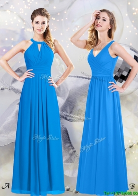 Modest Floor Length Zipper Up Chiffon Bridesmaid Dress in Baby Blue