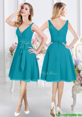 Elegant Belted and Ruched V Neck Teal Bridesmaid Dress with Zipper Up