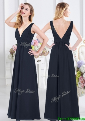 Fashionable Deep V Neckline Chiffon Long Bridesmaid Dress with Backless