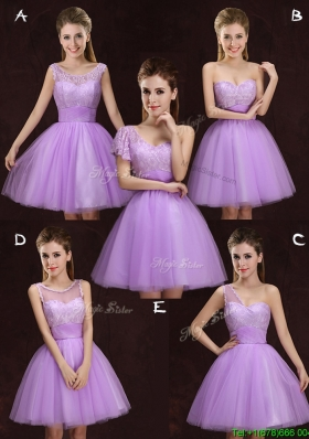 Fashionable Lilac Short Bridesmaid Dress with Lace and Ruching