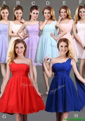 New Style One Shoulder Beaded Bridesmaid Dress in Chiffon