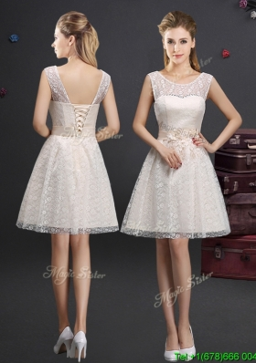 Lovely See Through Scoop Short Bridesmaid Dress with Appliques and Lace