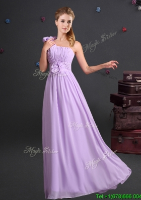 Sweet One Shoulder Lavender Bridesmaid Dress with Ruching and Handmade Flowers